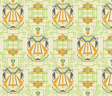 Art_Deco_Lion fabric by niceandfancy on Spoonflower - custom fabric
