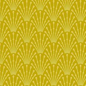 art deco beads - mustard