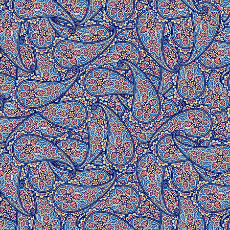 Blue Paisley fabric by artbyjanewalker on Spoonflower - custom fabric