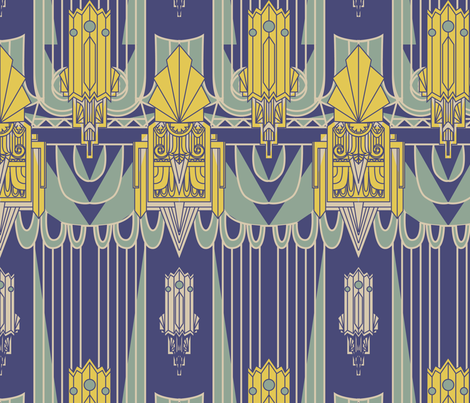 Art Deco 1930s Architecture (Navy Blue) fabric by bobbin4apples on Spoonflower - custom fabric