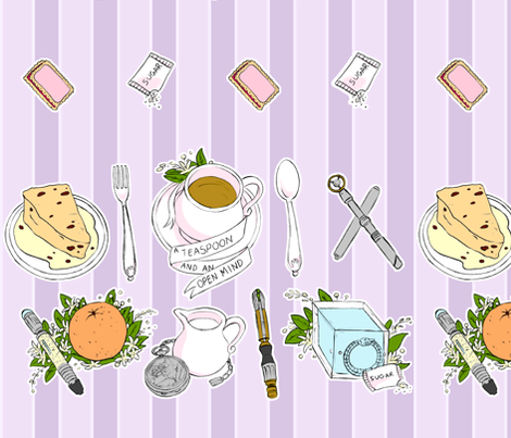 A TEASPOON AND AN OPEN MIND (LAVENDER) fabric by aimee on Spoonflower - custom fabric