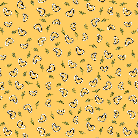 Peace Hearts  -  Sunshine fabric by inscribed_here on Spoonflower - custom fabric
