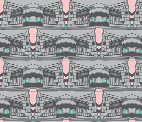Art Deco Rivoli Repeat - Grey Pink fabric by upcyclepatch on Spoonflower - custom fabric