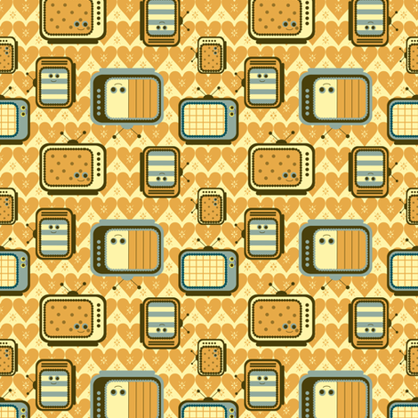 happy_TV fabric by lilliblomma on Spoonflower - custom fabric