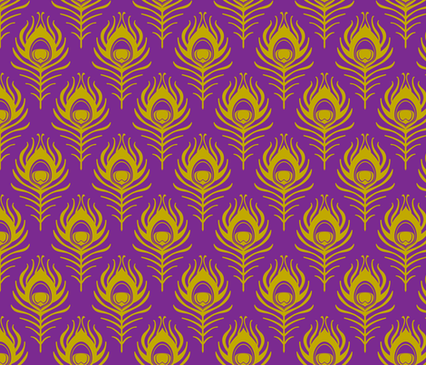 Peacock feather - purple and mustard fabric by coggon_(roz_robinson) on Spoonflower - custom fabric