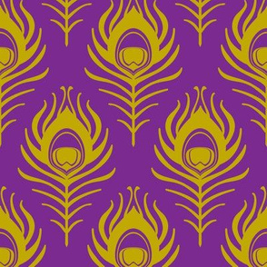 Peacock feather - purple and mustard
