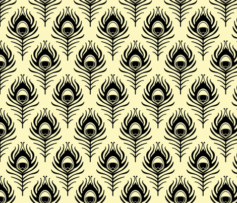 Peacock feather - cream and black fabric by coggon_(roz_robinson) on Spoonflower - custom fabric