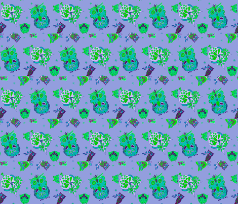 Little Retro Periwinkle Owls fabric by bettinablue_designs on Spoonflower - custom fabric
