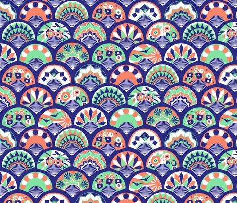 Art Deco Flapper Fans - Nefertiti fabric by tuppencehapenny on Spoonflower - custom fabric