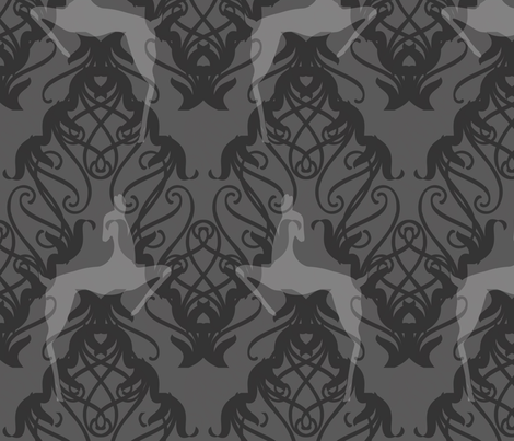 Deco Deer silver fabric by meredithjean on Spoonflower - custom fabric