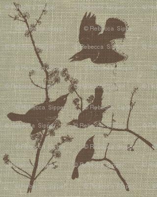 Black Birds on Blue Burlap