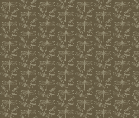 Dragonflies on Tobacco Burlap fabric by retrofiedshop on Spoonflower - custom fabric