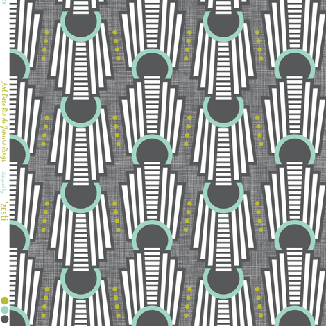 Art Deco Rings Rio De Janeiro Charcoal grey fabric by zesti on Spoonflower - custom fabric