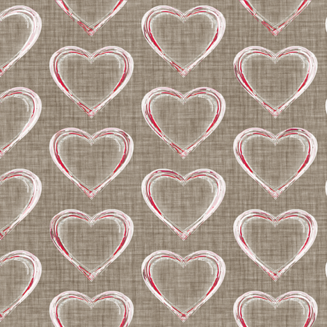 Faded French Hearts - Brown fabric by kristopherk on Spoonflower - custom fabric