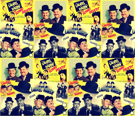 Laurel and Hardy Retro Collage fabric by bluevelvet on Spoonflower - custom fabric