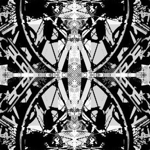 Bicycle Parts Mash Up in B/W