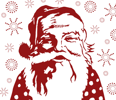Snowflake Santa fabric by longfellow on Spoonflower - custom fabric