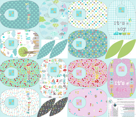 Baby bibs sewing pattern template  fabric by katarina on Spoonflower - custom fabric