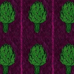 artichoke on deep magenta
