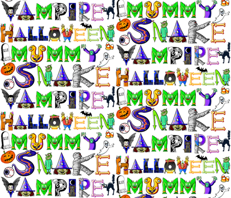 SCARY HALLOWEEN WORDS  fabric by bluevelvet on Spoonflower - custom fabric