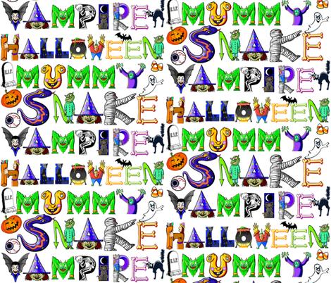 SCARY HALLOWEEN WORDS  fabric by bluevelvet on Spoonflower - custom fabric