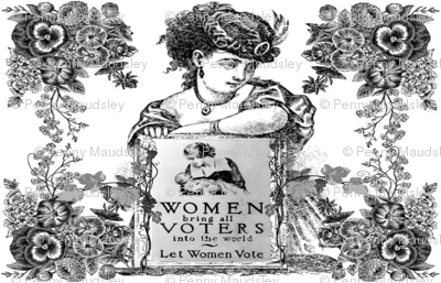 WOMEN VOTERS BLACK TOILE PILLOW