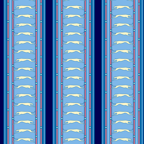 Blue Stripe Running Greyhound print  ©2012 by Jane Walker fabric by artbyjanewalker on Spoonflower - custom fabric