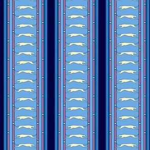 Blue Stripe Running Greyhound print  ©2012 by Jane Walker