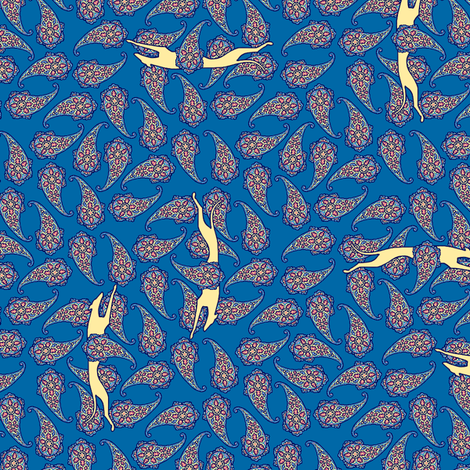 Blue Overall Pailsey with Running Greyhound Silhouettes  ©2012 by Jane Walker fabric by artbyjanewalker on Spoonflower - custom fabric