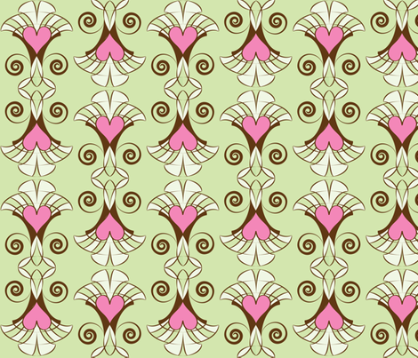 Heart Deco - 4 colors light fabric by owlandchickadee on Spoonflower - custom fabric