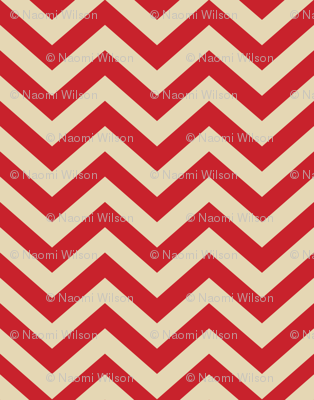 Mushroom Madness Chevron in Red and Cream