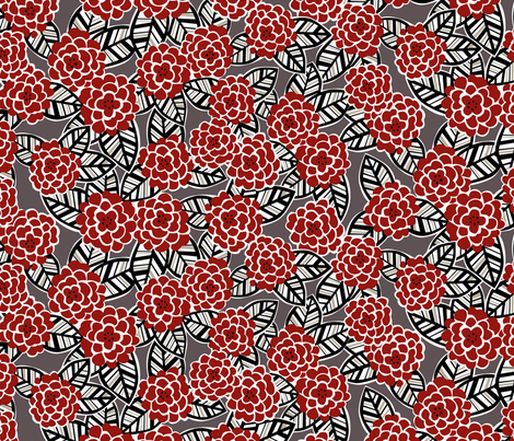 deco dahlia in red fabric by minimiel on Spoonflower - custom fabric