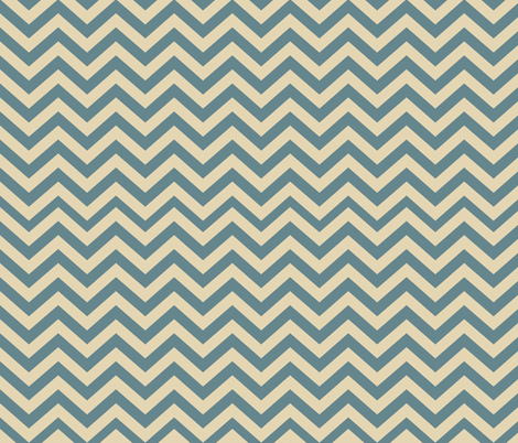Mushroom Madness Chevron in Blue and Cream