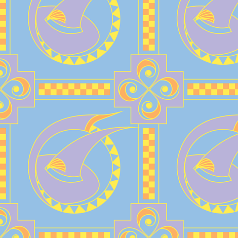 Pastel Witch Hats, Art Deco (Large Fabric Repeat) fabric by quiltsmith on Spoonflower - custom fabric