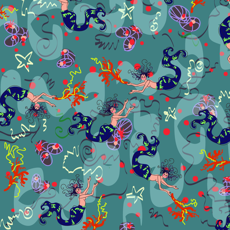 Mermaids in the see ditsy patern fabric by branchaplumes on Spoonflower - custom fabric