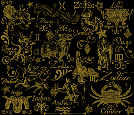 MIDNIGHT ZODIAC fabric by bluevelvet on Spoonflower - custom fabric