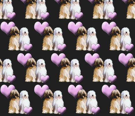 Tibetan Terriers With Hearts fabric by dogdaze_ on Spoonflower - custom fabric