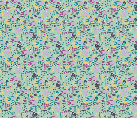LaraGeorgine_Ditsy_Sea_Creatures fabric by larageorgine on Spoonflower - custom fabric