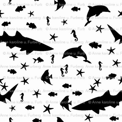 sea creatures b/w
