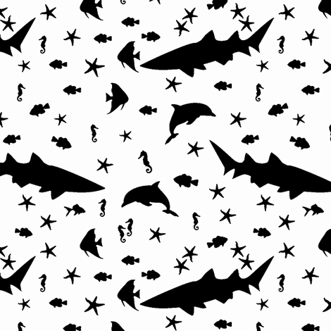 sea creatures b/w fabric by annekul on Spoonflower - custom fabric