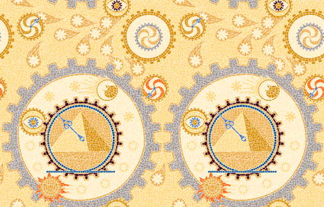Steampunk Mosaic Time Machine -- Large version  ©2012 by Jane Walker fabric by artbyjanewalker on Spoonflower - custom fabric