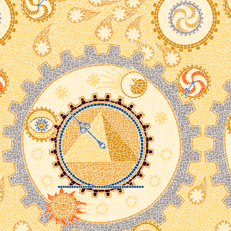 Steampunk Mosaic Time Machine -- Small version  ©2012 by Jane Walker fabric by artbyjanewalker on Spoonflower - custom fabric
