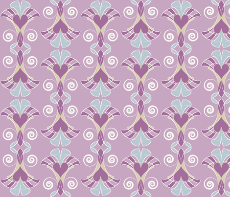 Heart Deco - Lavender fabric by owlandchickadee on Spoonflower - custom fabric