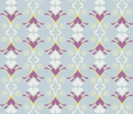 Heart Deco - Sky fabric by owlandchickadee on Spoonflower - custom fabric