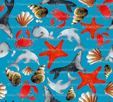 tissu liberty des mers fond bleu L