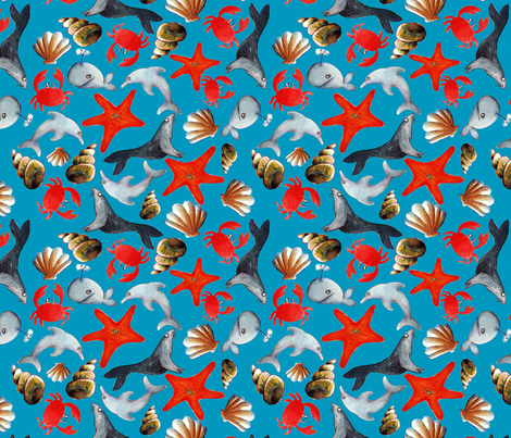 tissu liberty des mers fond bleu L fabric by nadja_petremand on Spoonflower - custom fabric