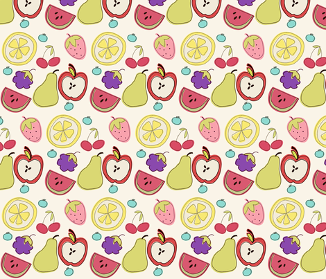 Fruit Salad in Cream fabric by pumpkinsandposies on Spoonflower - custom fabric