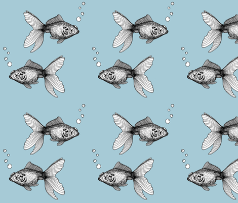Goldfish on Blue fabric by bella_modiste on Spoonflower - custom fabric