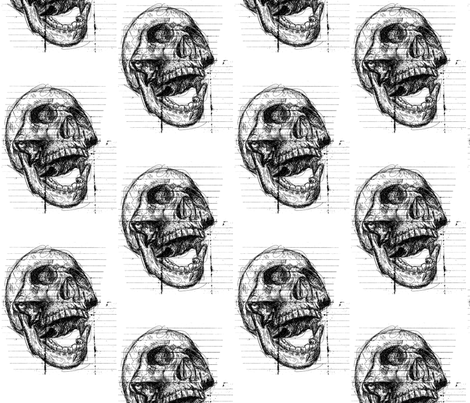 Scribble Skull fabric by rainlongson-artist on Spoonflower - custom fabric