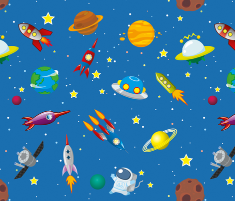 Space rocket solar system fabric seraholland spoonflower for Rocket fabric